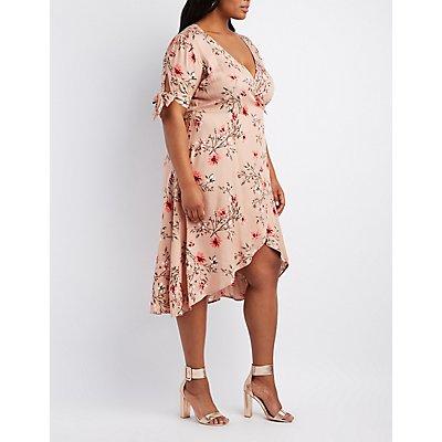 Plus Size Floral Midi Wrap Dress