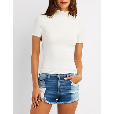 Ribbed Mock Neck Top
