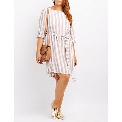 Plus Size Striped Tie-Waist Dress