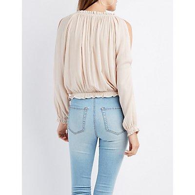 Crochet-Trim Split Sleeve Top