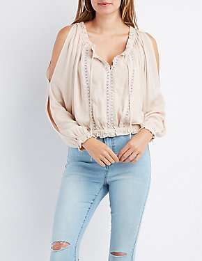 Crochet-Trim Split Sleeve Top