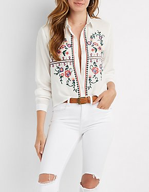 Embroidered Button-Up Top