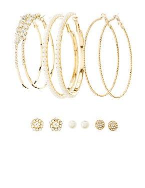 Faux Pearl, Rhinestone Stud & Hoop Earrings - 6 Pack