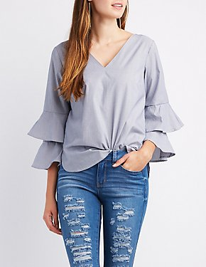 Striped Ruffle-Trim Bell Sleeve Top