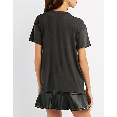 Choker Neck Cut-Out Graphic Tee