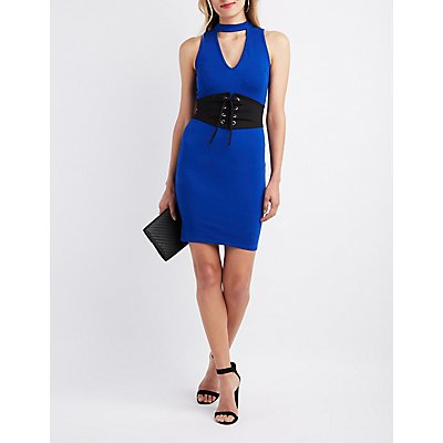 Mock Neck Corset-Detail Bodycon Dress