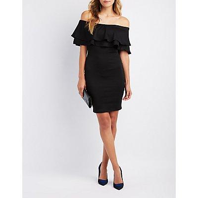 Ruffle-Trim Off-The-Shoulder Bodycon Dress