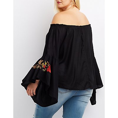 Plus Size Bell Sleeve Off-The-Shoulder Top
