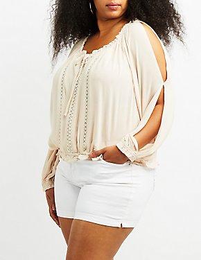 Plus Size Crochet-Trim Split Sleeve Top