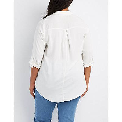 Plus Size Lace-Up Collared Shirt