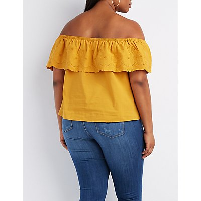 Plus Size Ruffle-Trim Off-The-Shoulder Top