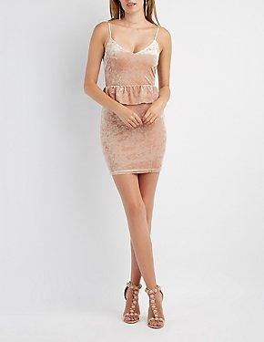 Velvet Peplum Bodycon Dress