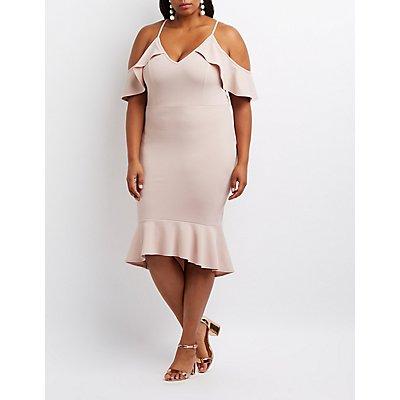 Plus Size Ruffle Cold Shoulder Flounced Dress