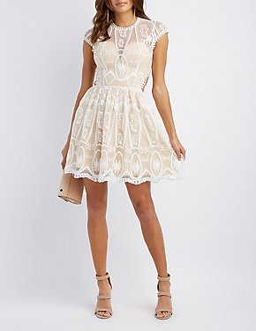 Lace Lace-Up Skater Dress