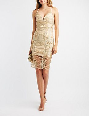 Sequin Embroidered Notched Bodycon Dress