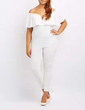 Plus Size Notched Off-The-Shoulder Ruffle Jumpsuit