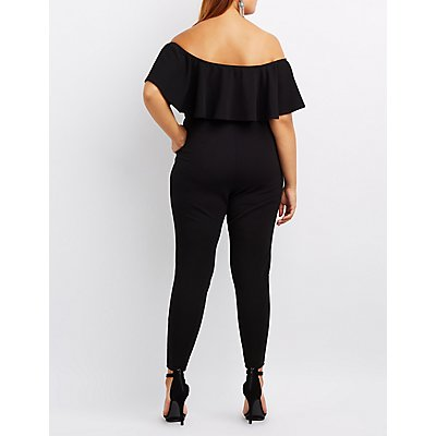 Plus Size Notched Off-The-Shoulder Ruffle Jumpsuit