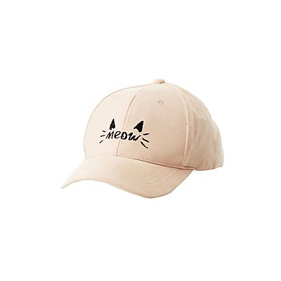 Meow Faux Suede Baseball Hat