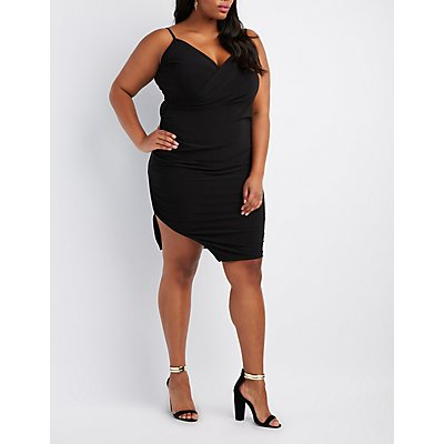 Plus Size Ruched Surplice Bodycon Dress