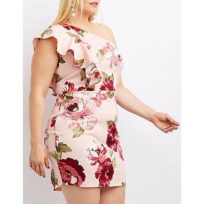 Plus Size Floral Ruffle One-Shoulder Dress
