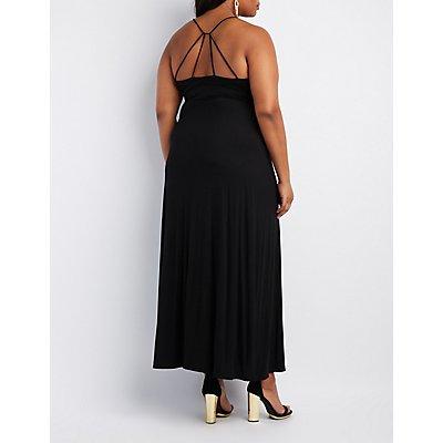 Plus Size Strappy Surplice Maxi Dress