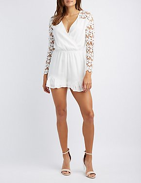 Crochet-Sleeve Surplice Romper