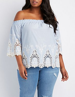 Plus Size Embroidered Hem Off-The-Shoulder Top