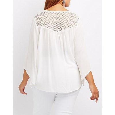 Plus Size Crochet-Trim Bell Sleeve Button-Up Top