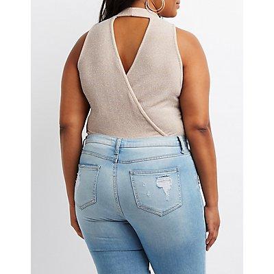 Plus Size Shimmer Choker Neck Bodysuit