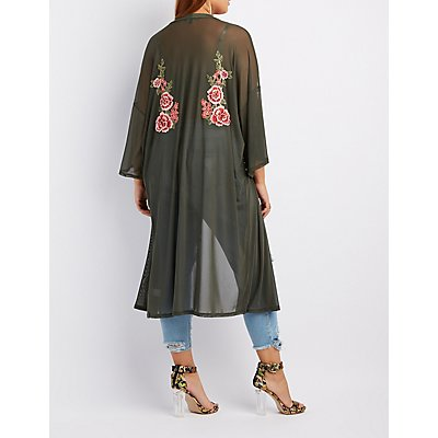 Plus Size Floral Embroidered Mesh Duster