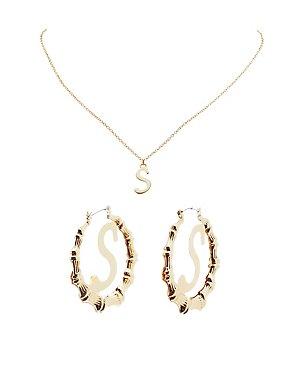 Monogram Pendant Necklace & Bamboo Hoop Earrings