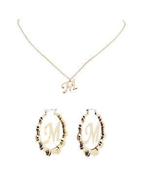 Monogram Pendant Necklace & Bamboo Hoop Earrings