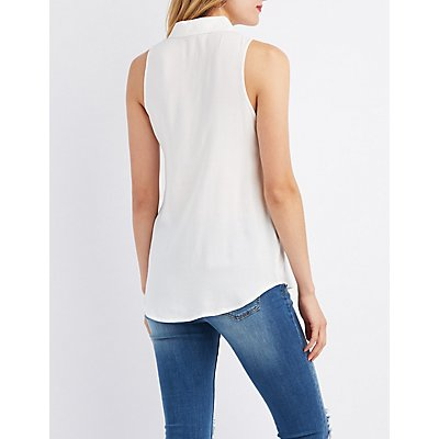 Pocket Button-Up Top
