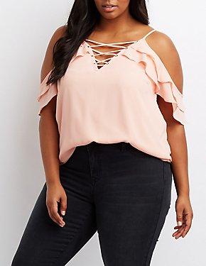 Plus Size Ruffle Lace-Up Cold Shoulder Top