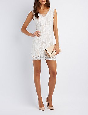 Lace & Mesh-Trim Bodycon Dress
