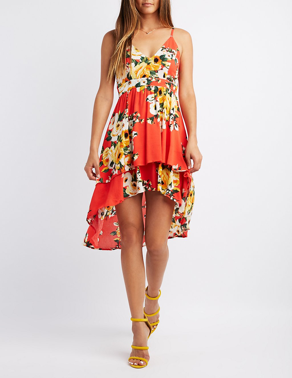 Floral High-Low Maxi Dress | Charlotte Russe
