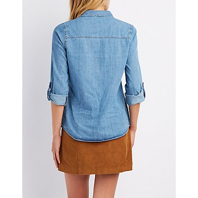 Distressed Chambray Button-Up Shirt