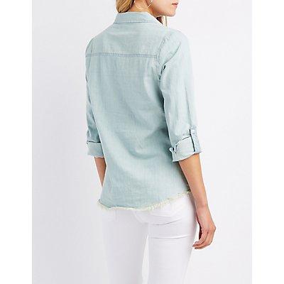 Frayed Chambray Button-Up Shirt