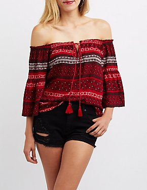Printed Off-The-Shoulder Tie-Front Top