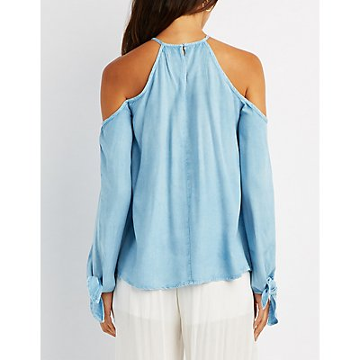 Chambray Cold Shoulder Tie-Sleeve Top