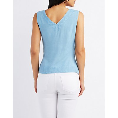 Chambray Tie-Front Wrap Top