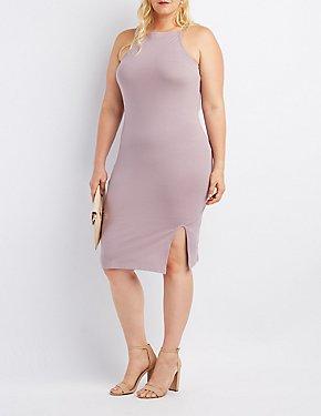 Plus Size Bib Neck Bodycon Slit Dress