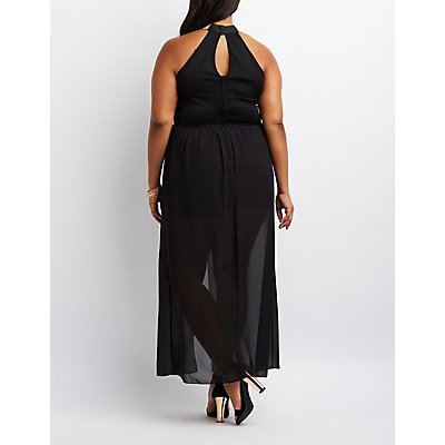 Plus Size Chain Neck Layered Maxi Romper