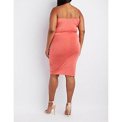 Plus Size Ruched Asymmetrical Bodycon Dress