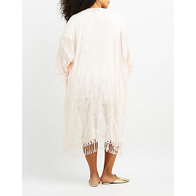 Plus Size Embroidered Fringe Duster Kimono