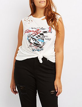 Plus Size Destroyed Racing Graphic Muscle Tee