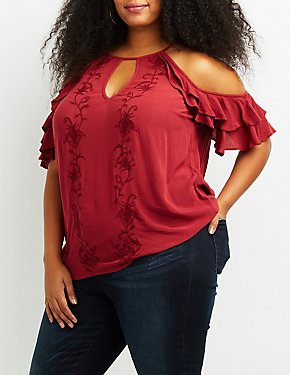 Plus Size Embroidered Ruffle-Trim Cold Shoulder Top