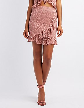Ruffle-Trim Lace Wrap Skirt