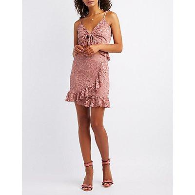Ruffle-Trim Lace Wrap Skirt
