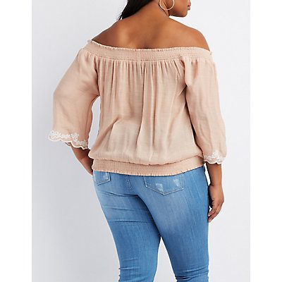 Plus Size Embroidered-Trim Off-The-Shoulder Top